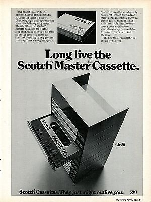 1976 Scotch Master 90 Cassette Tapes They Might Just Outlive You Print Ad.
