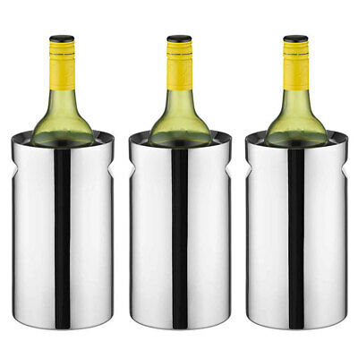 3PK Avanti Twin Stainless Steel Wine/Champagne Cooler/Chiller Indent Handles