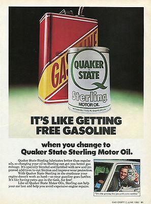 1980 Print Ad of Quaker State Sterling Motor Oil It's Like Getting Free Gas