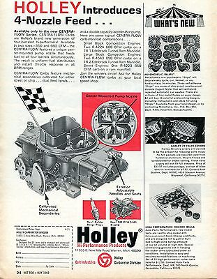 1969 Print Ad of Holley High Performance Centra Flow Carburetors w 4 Nozzle Feed