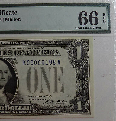 Pmg Certified Gem New 66 Low Serial Number 1928A $1 Silver Certificate