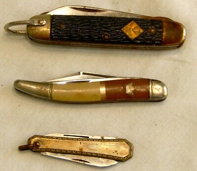 Lot of 3 Vintage Pocket Jack Knife Knives Camulus  Cub Scout Imperial Fishing