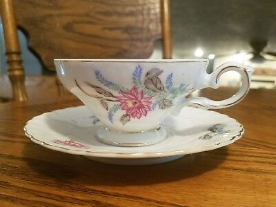 Royal Sealy China Floral Footed Teacup And Saucer! Japan
