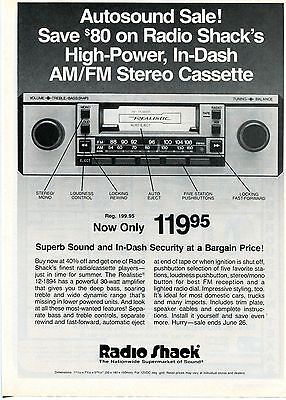 1983 Print Ad Radio Shack Realistic High Power In Dash Stereo Cassette Reciever