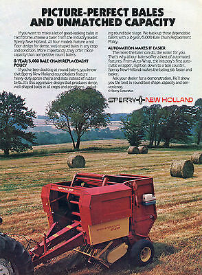1985 SPERRY NEW Holland 848 Round Baler Tractor Print Ad