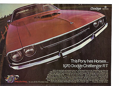 1969 Print Ad for 1970 Dodge Challenge R/T This Pony Has Horses