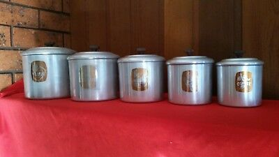 Vintage Set Aluminium Kitchen Canisters.