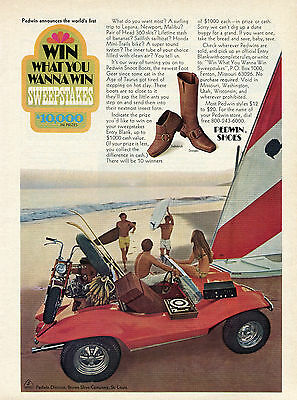 1971 Pedwin Shoes Win What You Want To Win $10,000 Sweepstakes Dune Buggie Ad