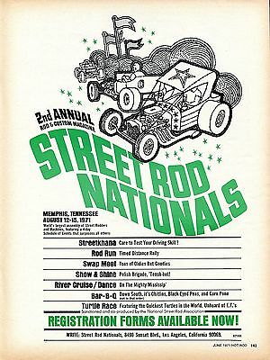 1971 Print Ad of 2nd Annual Street Rod Nationals Memphis Tennessee