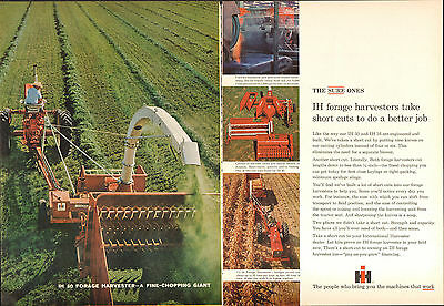 1965 2 Page Print Ad of International Harvester IH 50 & 16 Forage Tractor