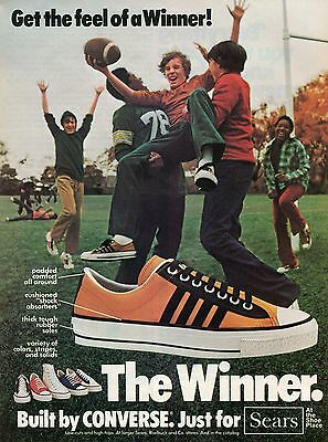 1975 Converse The Winner Low Cut & High Top Shoes Sears Football Print Ad