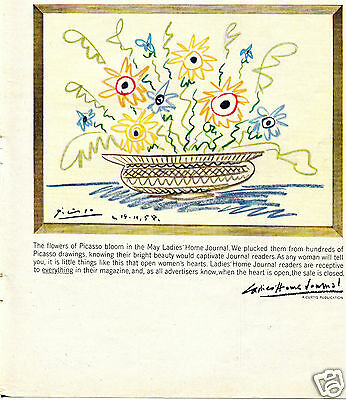 1960 Print Ad of Ladies Home Journal with Picasso Flowers Art