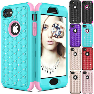 Hybrid Crystal Diamond Bling Glitter Rubber Shockproof Case for iPhone 8 / Plus