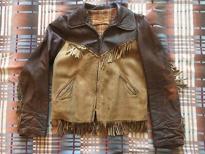"""Vintage Double R Bar Brand """"Roy Rogers"""" Suede and Leather Childs 1950s Jacket"""