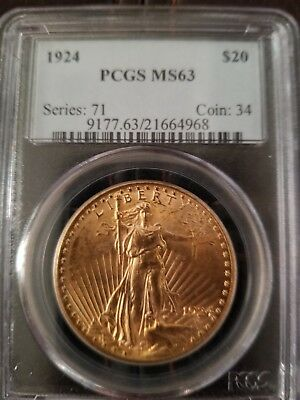 1924 $20 Gold St. Gaudens PCGS MS63 Double Eagle