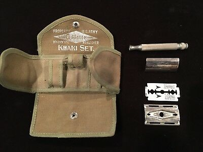 Vintage World War Ii Us Army Gillette Razor Khaki Set