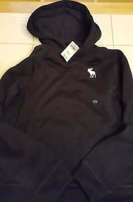 NWT Abercrombie Kids Boys Navy Sweater Pullover Hoodie Size 11/12