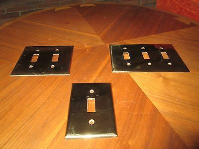 Vintage Lot 17 USA Cast Brass Single Double Triple Toggle Switch Covers Plates