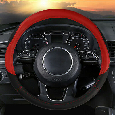 15'' 38cm Auto Car Steering Wheel Cover Breathable Microfiber Leather Black/Red