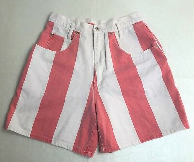 Nuovo County Seat Woman's Vintage Denim Shorts 11/12 High Rise Retro Red White
