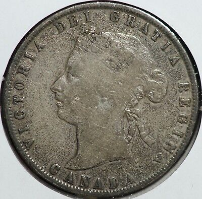 1872 H Canada Silver 50 Cents Coin