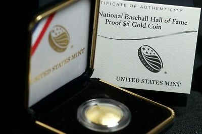2014 Baseball Hall of Fame Proof $5 Gold Coin Commemorative with box & COA