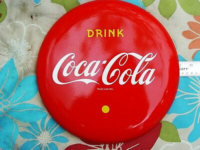 Beautiful Vintage 1950s 12 inch Coca Cola Red Porcelain Button Sign Coke
