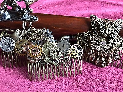 Steampunk Wedding Hair Comb Filigree Hair Comb Steampunk Gear Fairy Victorian