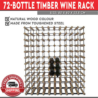 Wooden Wine Rack 72 Bottle Natural Wood Cellar Organiser Timber Stand 80cm