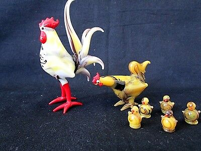 Vintage Glass Rooster Hen Chicks Hand Blown Murano Style Miniature