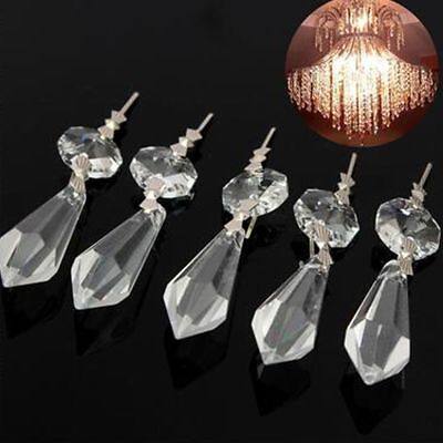 10x clear chandelier glass crystal lamp prisms parts hanging drops 10 clear crystals chandelier glass lamp prisms parts hanging drops pendants 38mm aloadofball Image collections