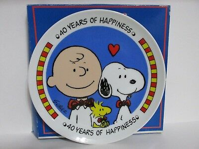 Snoopy Peanuts Charlie Brown Vintage Ceramic Willitts Anniversary Plate 1990