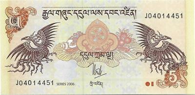 Bhutan 5 Ngultrum, P - 28a, UNC From 2006, Palace and Two Mythological Birds