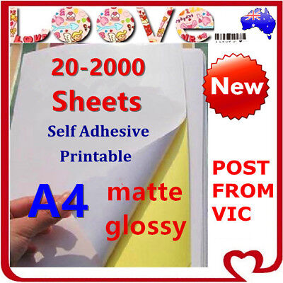 A4 White Self Adhesive Sticker Paper Sheet Label Laser Inkjet Print Mailing Add