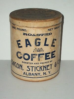 1900 EAGLE BRAND COFFEE CAN-Tin Carton Vintage BACON,STICKNEY&CO 1# Pound ALBANY