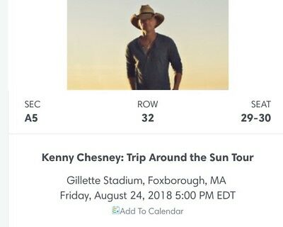 Kenny Chesney Trip Around The Sun Tour 8/24/18 At Gillette 2 Floor Aisle Seats