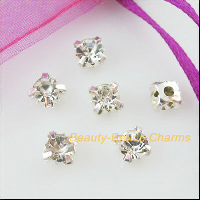 50Pcs Loose Crystal Handmade Sew on Claw Rhinestone White Silver Plated 4mm