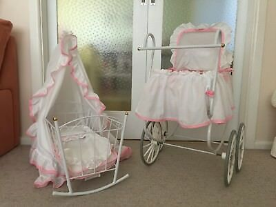 Deluxe doll pram and cradle with canopy - pink and white - matching set