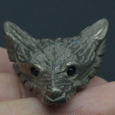Howling Wolf Statue Pyrite Animal Pendant Hand Carved Stone Necklace Jewelry