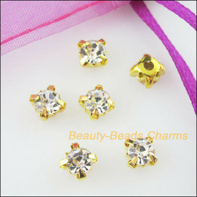 30Pcs Loose Crystal Handmade Sew on Claw Rhinestone White Gold Plated 6mm