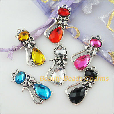 6Pcs Mixed Tibetan Silver Acrylic Plastic Cat Charms Pendants 12.5x29.5mm