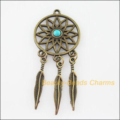 2Pcs Retro Antiqued Bronze Round Flower Turquoise Tassels Charms Pendant 26x63mm