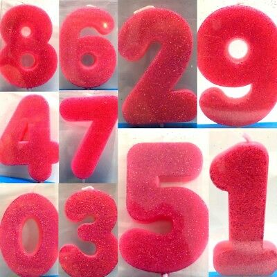 New Cake Candle Numbers Glitter Candles Birthday Party Girl Pink 0 9
