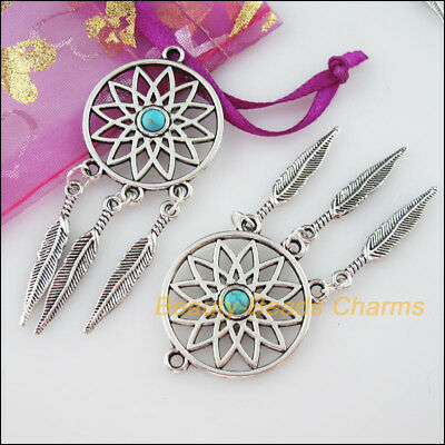 2Pcs Retro Tibetan Silver Round Flower Turquoise Tassels Charms Pendants 26x63mm