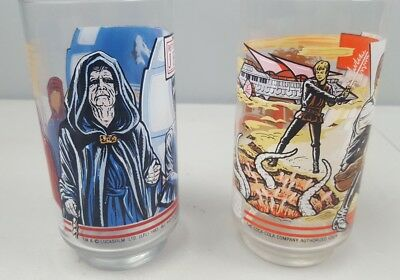 Vintage 1983 Star Wars Return of the Jedi Burger King Glasses Coca Cola 2 pair