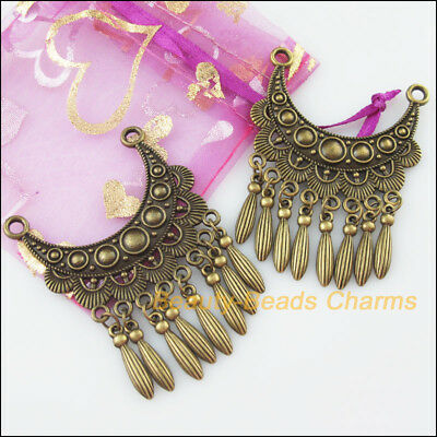 2Pc Antiqued Bronze Tone Moon Flower Tassels Charms Connectors 46x63mm