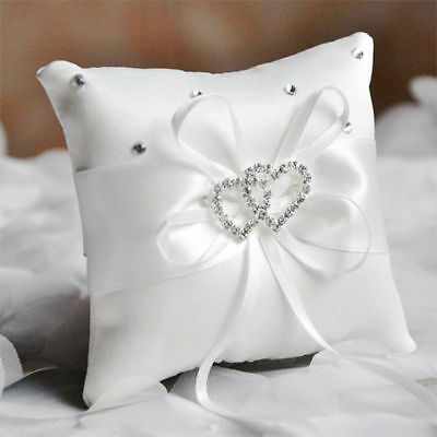 White Double Heart Rhinestone Pillow Wedding Satin Ring Supplies Cushion 10*10cm