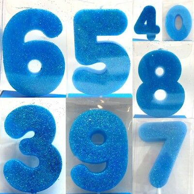 New Cake Candle Numbers Glitter Candles Birthday Party Boy Blue 0 9