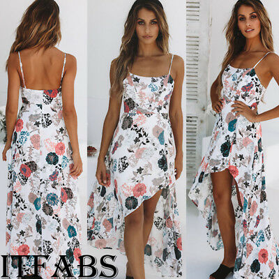 Summer Women Floral Long Maxi Dress Holiday Cocktail Party Beachwear Sundress DE