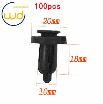 100 Pcs 10mm Clips Plastic Push Type Rivet Retainer Fastener for Honda Black Car
